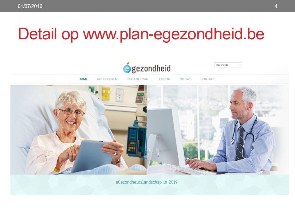 Detail op www.plan-egezondheid.be 01/07/20164