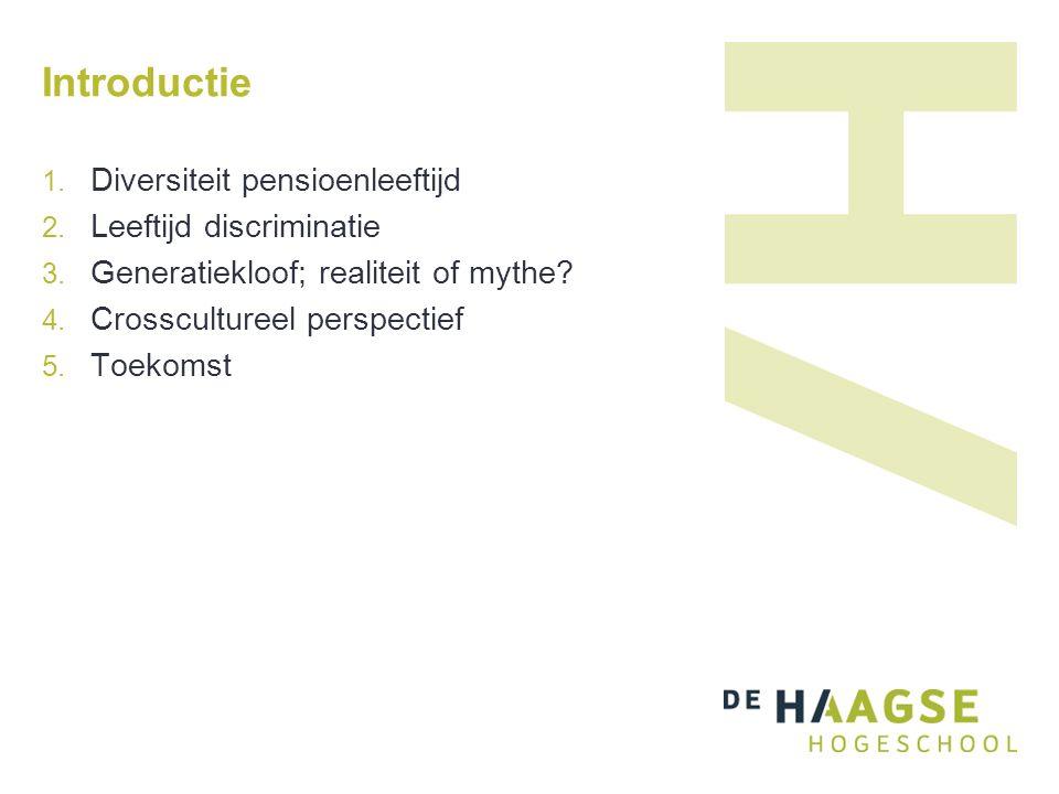 Introductie  Diversiteit pensioenleeftijd  Leeftijd discriminatie  Generatiekloof; realiteit of mythe.