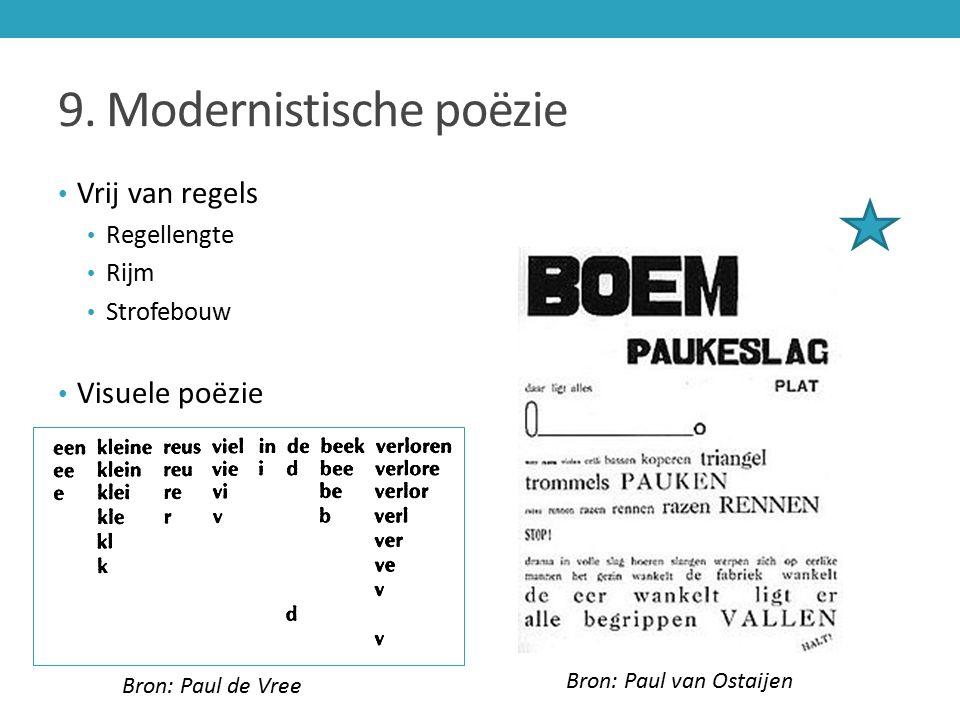 9. Modernistische poëzie Vrij van regels Regellengte Rijm Strofebouw Visuele poëzie Bron: Paul de Vree Bron: Paul van Ostaijen