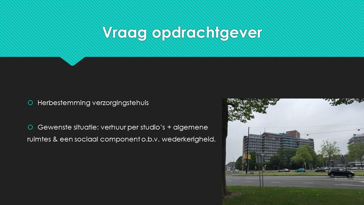Vraag opdrachtgever  Herbestemming verzorgingstehuis  Gewenste situatie: verhuur per studio's + algemene ruimtes & een sociaal component o.b.v.