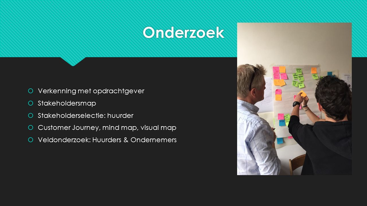 Onderzoek  Verkenning met opdrachtgever  Stakeholdersmap  Stakeholderselectie: huurder  Customer Journey, mind map, visual map  Veldonderzoek: Hu