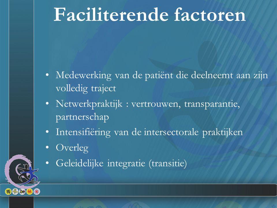 Faciliterende factoren Medewerking van de patiënt die deelneemt aan zijn volledig traject Netwerkpraktijk : vertrouwen, transparantie, partnerschap Intensifiëring van de intersectorale praktijken Overleg Geleidelijke integratie (transitie)