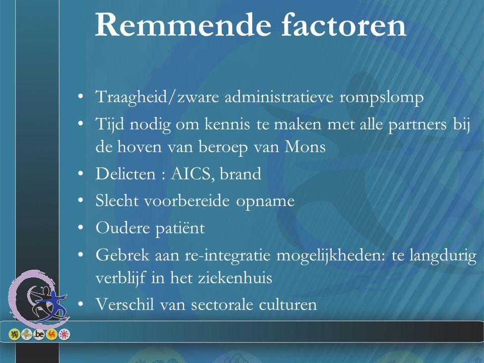 Remmende factoren Traagheid/zware administratieve rompslomp Tijd nodig om kennis te maken met alle partners bij de hoven van beroep van Mons Delicten