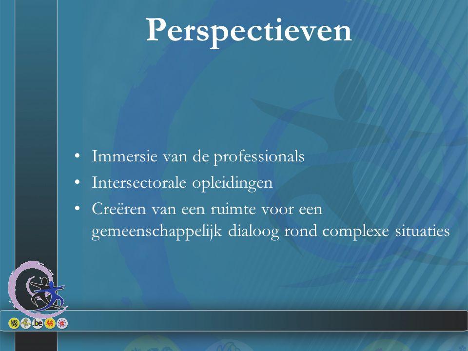 Perspectieven Immersie van de professionals Intersectorale opleidingen Creëren van een ruimte voor een gemeenschappelijk dialoog rond complexe situati