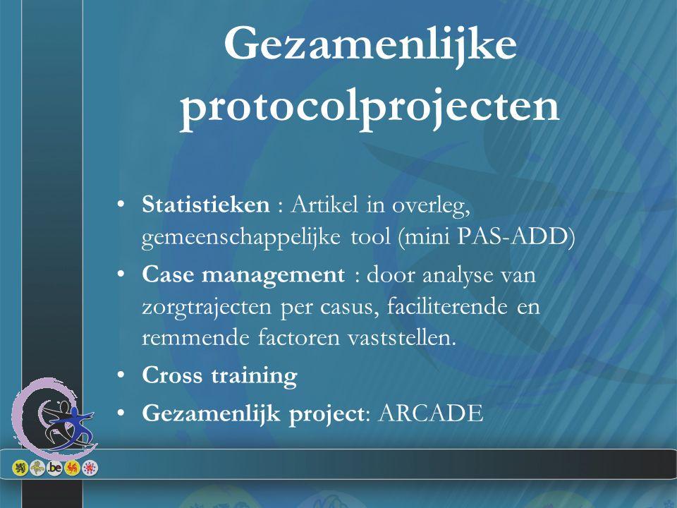 Gezamenlijke protocolprojecten Statistieken : Artikel in overleg, gemeenschappelijke tool (mini PAS-ADD) Case management : door analyse van zorgtrajec