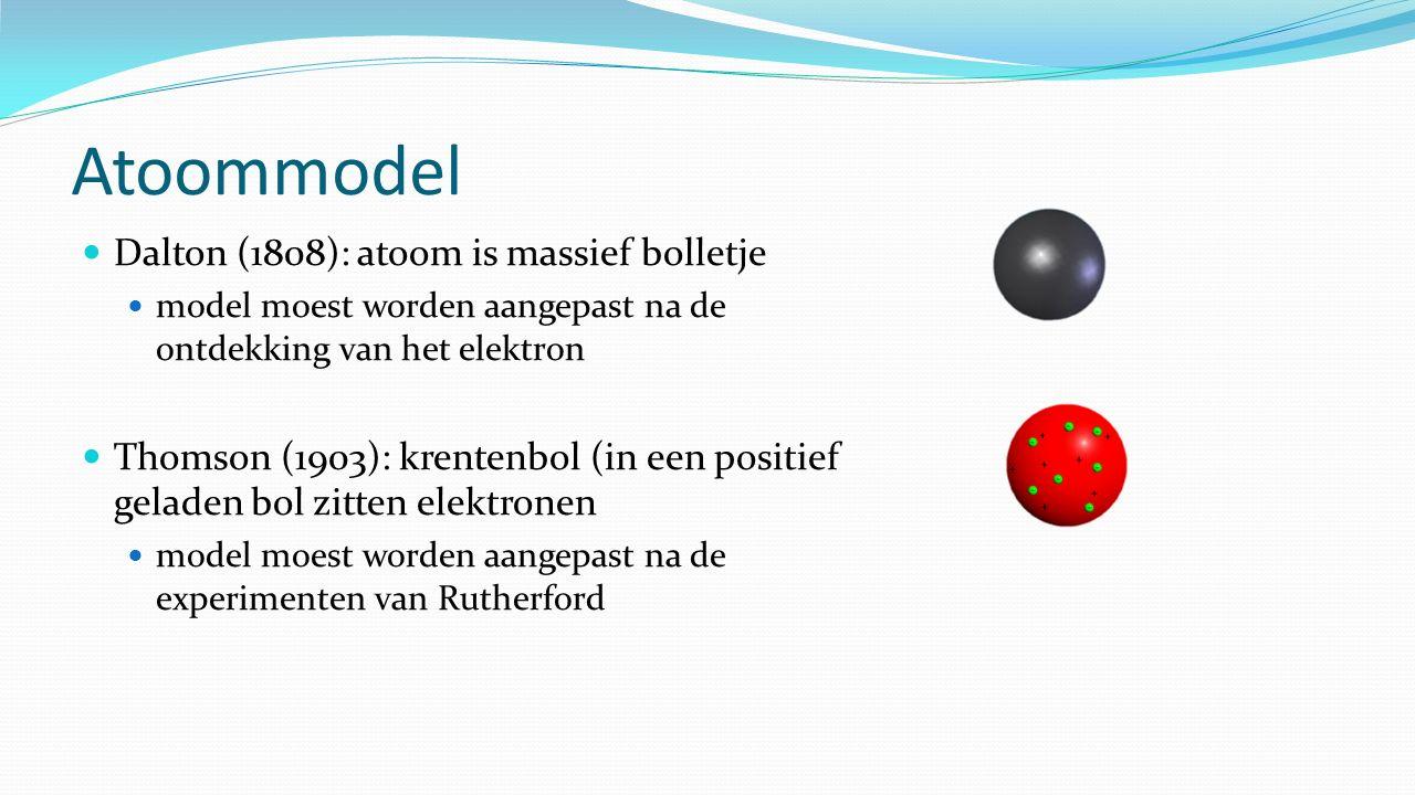 Atoommodel Dalton (1808): atoom is massief bolletje model moest worden aangepast na de ontdekking van het elektron Thomson (1903): krentenbol (in een