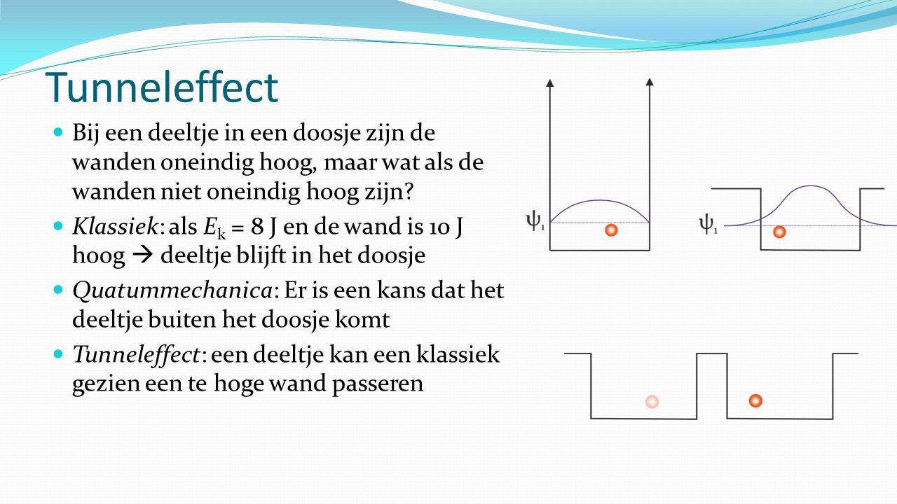 Tunneleffect Bij een deeltje in een doosje zijn de wanden oneindig hoog, maar wat als de wanden niet oneindig hoog zijn? Klassiek: als E k = 8 J en de