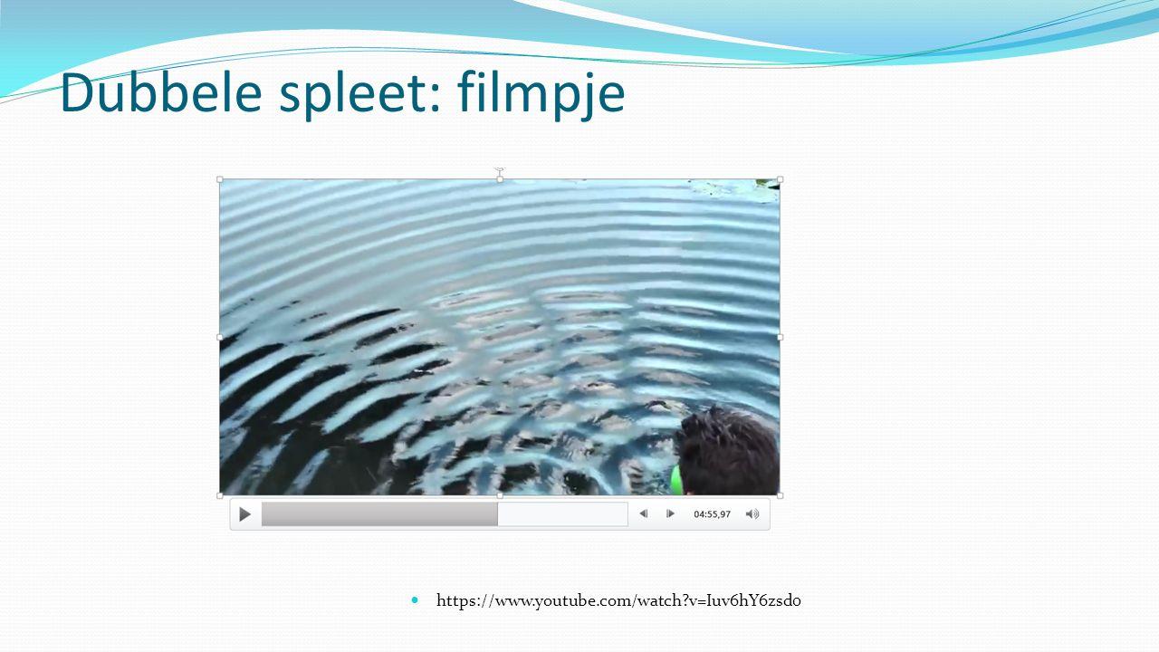 Dubbele spleet: filmpje https://www.youtube.com/watch?v=Iuv6hY6zsd0