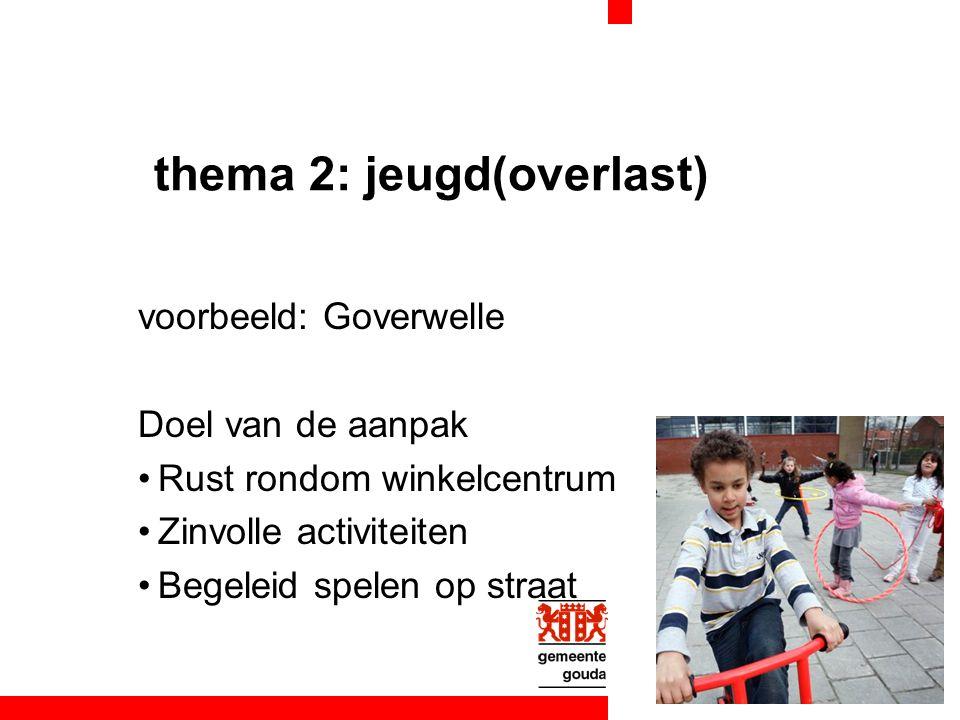 thema 2: jeugd(overlast) voorbeeld: Goverwelle Doel van de aanpak Rust rondom winkelcentrum Zinvolle activiteiten Begeleid spelen op straat