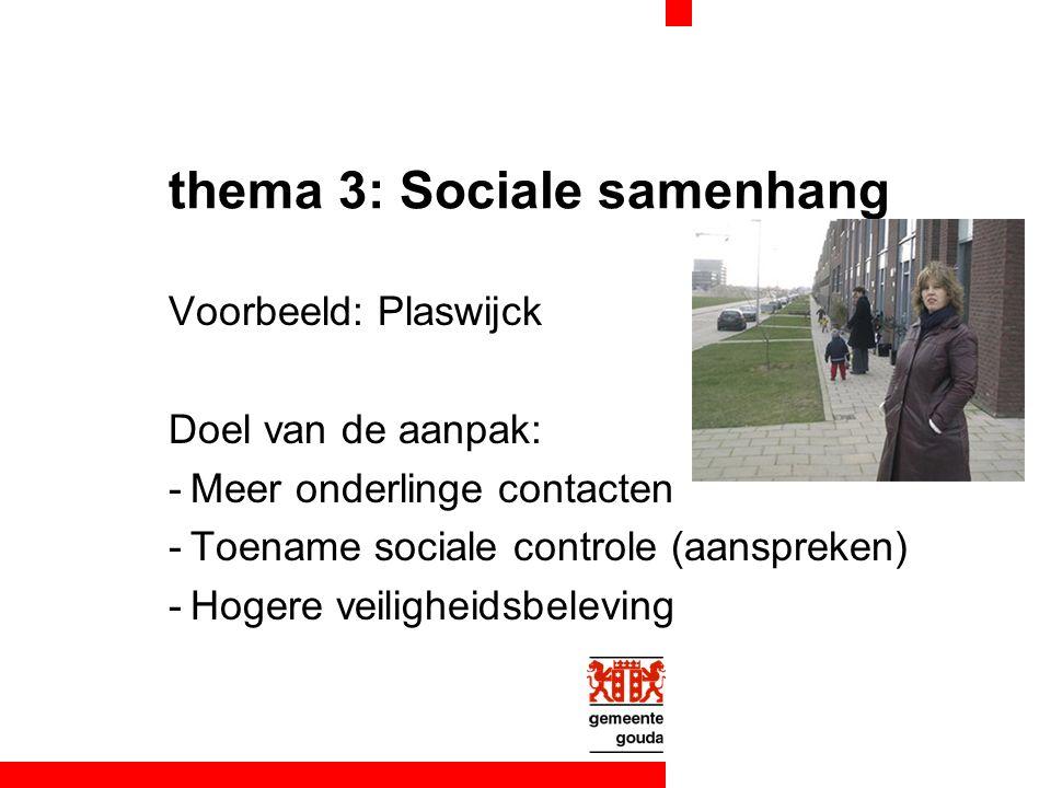 thema 3: Sociale samenhang Voorbeeld: Plaswijck Doel van de aanpak: -Meer onderlinge contacten -Toename sociale controle (aanspreken) -Hogere veiligheidsbeleving