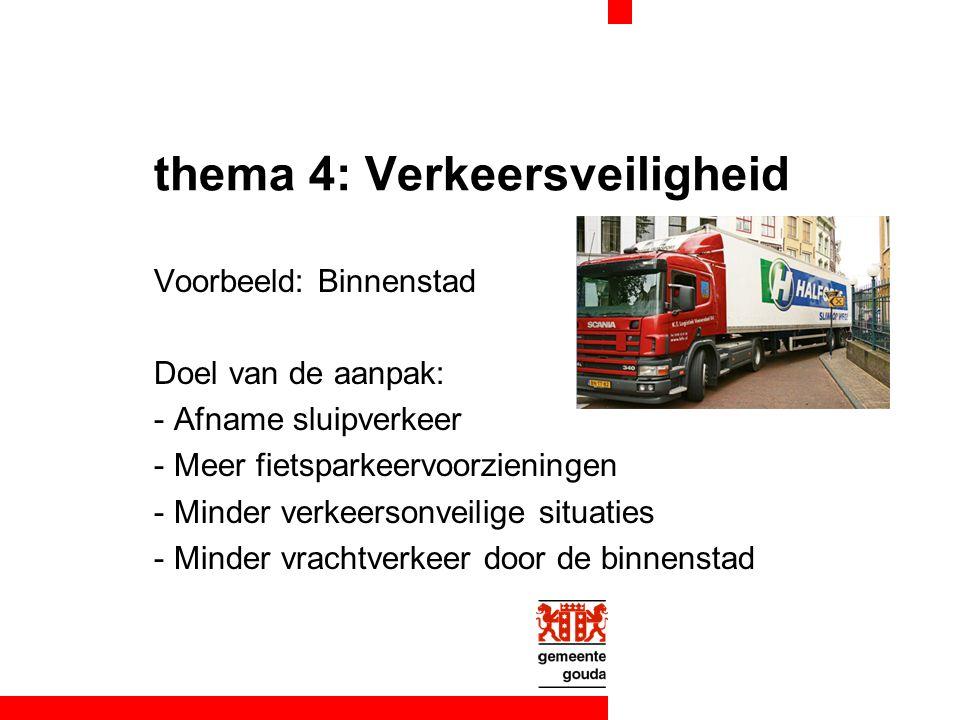 thema 4: Verkeersveiligheid Voorbeeld: Binnenstad Doel van de aanpak: -Afname sluipverkeer -Meer fietsparkeervoorzieningen -Minder verkeersonveilige s