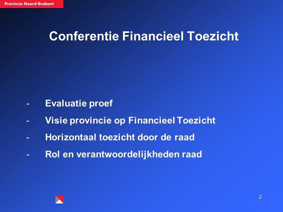 2 Conferentie Financieel Toezicht -Evaluatie proef -Visie provincie op Financieel Toezicht -Horizontaal toezicht door de raad -Rol en verantwoordelijk