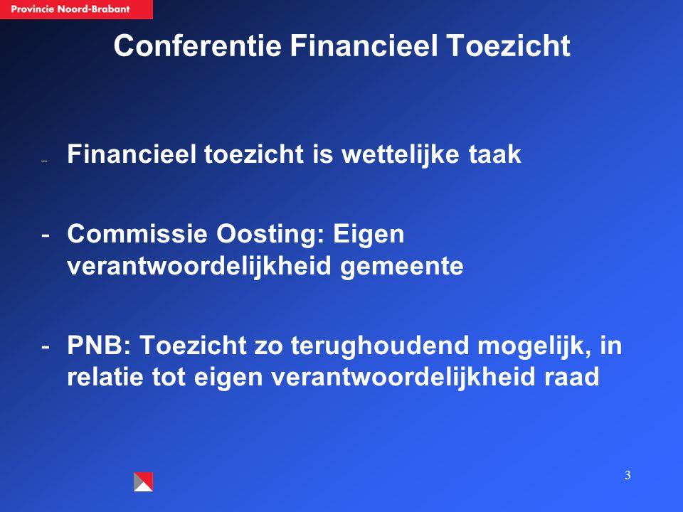 3 Conferentie Financieel Toezicht -- Financieel toezicht is wettelijke taak -Commissie Oosting: Eigen verantwoordelijkheid gemeente -PNB: Toezicht zo