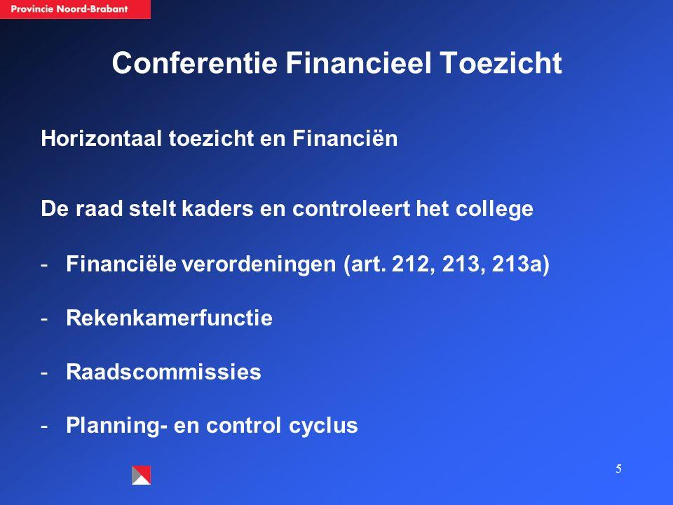 5 Conferentie Financieel Toezicht Horizontaal toezicht en Financiën De raad stelt kaders en controleert het college -Financiële verordeningen (art. 21