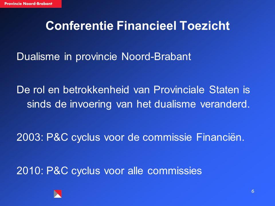 6 Conferentie Financieel Toezicht Dualisme in provincie Noord-Brabant De rol en betrokkenheid van Provinciale Staten is sinds de invoering van het dua