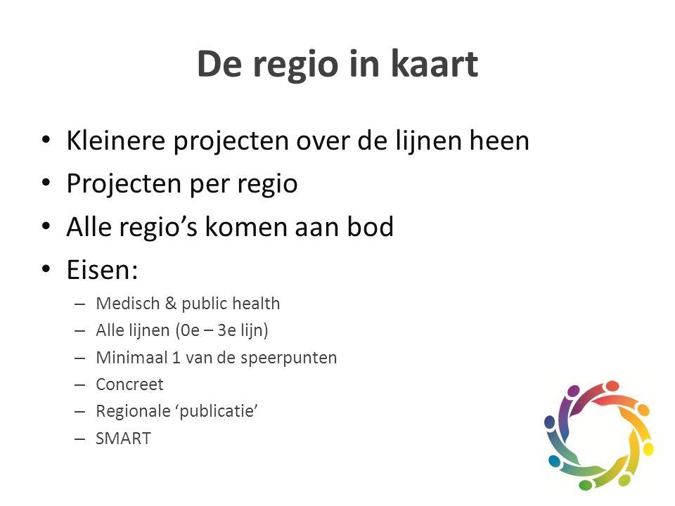 De regio in kaart Kleinere projecten over de lijnen heen Projecten per regio Alle regio's komen aan bod Eisen: – Medisch & public health – Alle lijnen (0e – 3e lijn) – Minimaal 1 van de speerpunten – Concreet – Regionale 'publicatie' – SMART