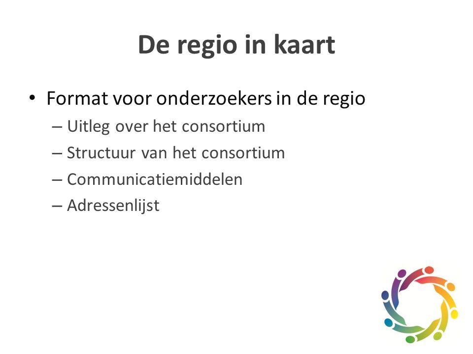 De regio in kaart Format voor onderzoekers in de regio – Uitleg over het consortium – Structuur van het consortium – Communicatiemiddelen – Adressenlijst