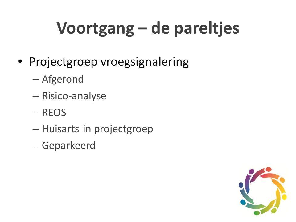 Voortgang – de pareltjes Projectgroep vroegsignalering – Afgerond – Risico-analyse – REOS – Huisarts in projectgroep – Geparkeerd