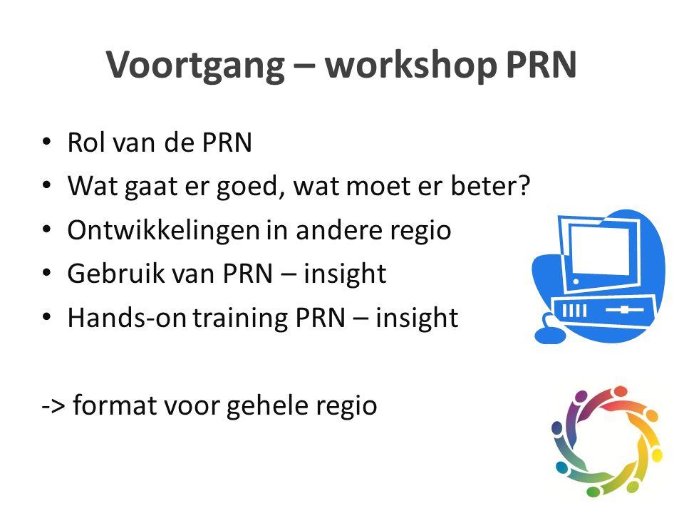 Voortgang – workshop PRN Rol van de PRN Wat gaat er goed, wat moet er beter.
