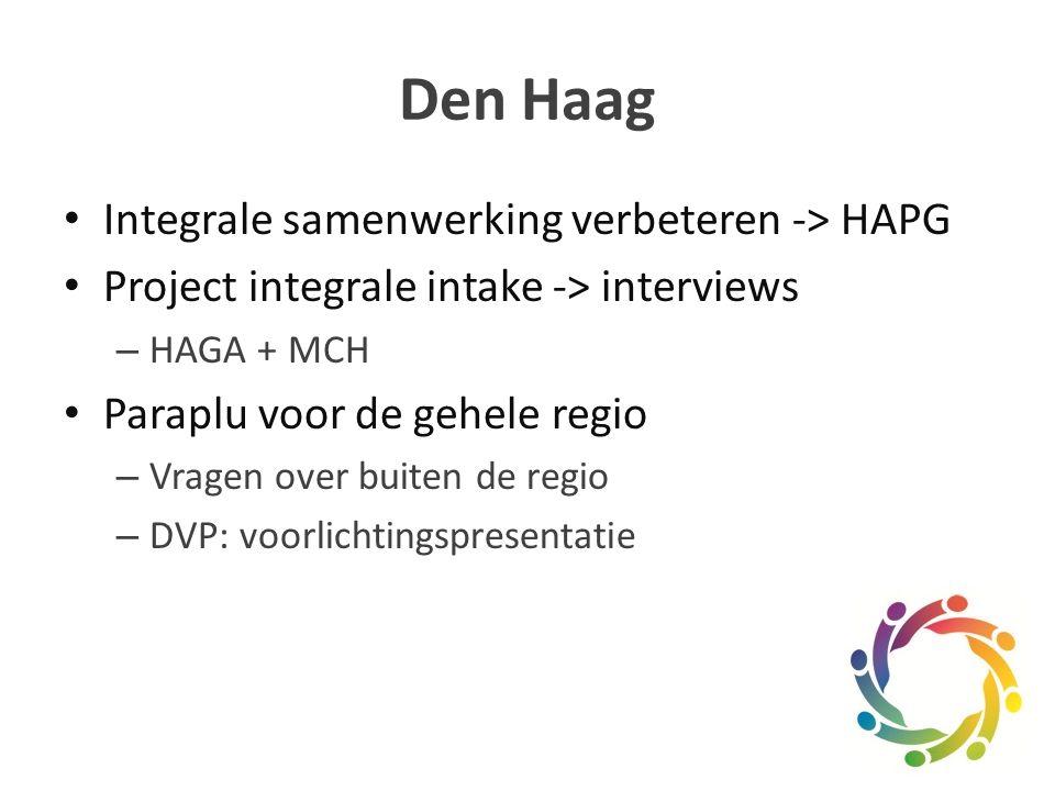Den Haag Integrale samenwerking verbeteren -> HAPG Project integrale intake -> interviews – HAGA + MCH Paraplu voor de gehele regio – Vragen over buiten de regio – DVP: voorlichtingspresentatie