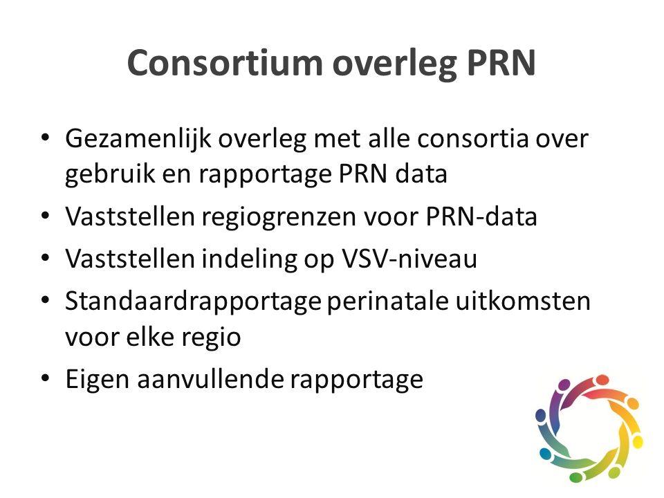 Consortium overleg PRN Gezamenlijk overleg met alle consortia over gebruik en rapportage PRN data Vaststellen regiogrenzen voor PRN-data Vaststellen indeling op VSV-niveau Standaardrapportage perinatale uitkomsten voor elke regio Eigen aanvullende rapportage