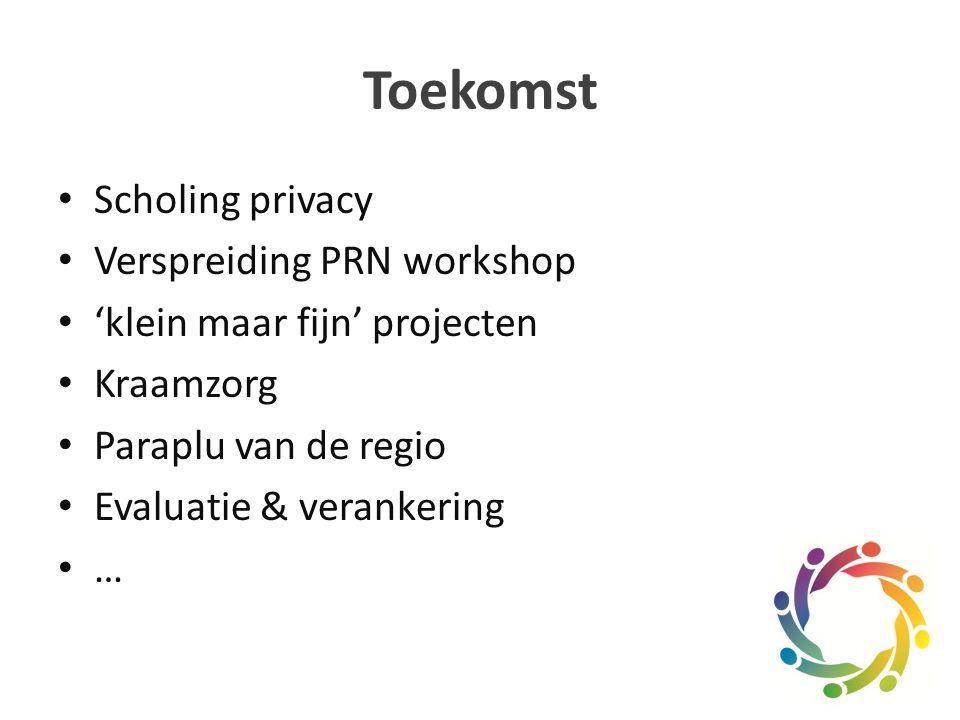 Toekomst Scholing privacy Verspreiding PRN workshop 'klein maar fijn' projecten Kraamzorg Paraplu van de regio Evaluatie & verankering …