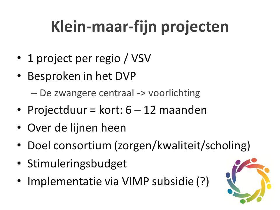 1 project per regio / VSV Besproken in het DVP – De zwangere centraal -> voorlichting Projectduur = kort: 6 – 12 maanden Over de lijnen heen Doel consortium (zorgen/kwaliteit/scholing) Stimuleringsbudget Implementatie via VIMP subsidie ( )