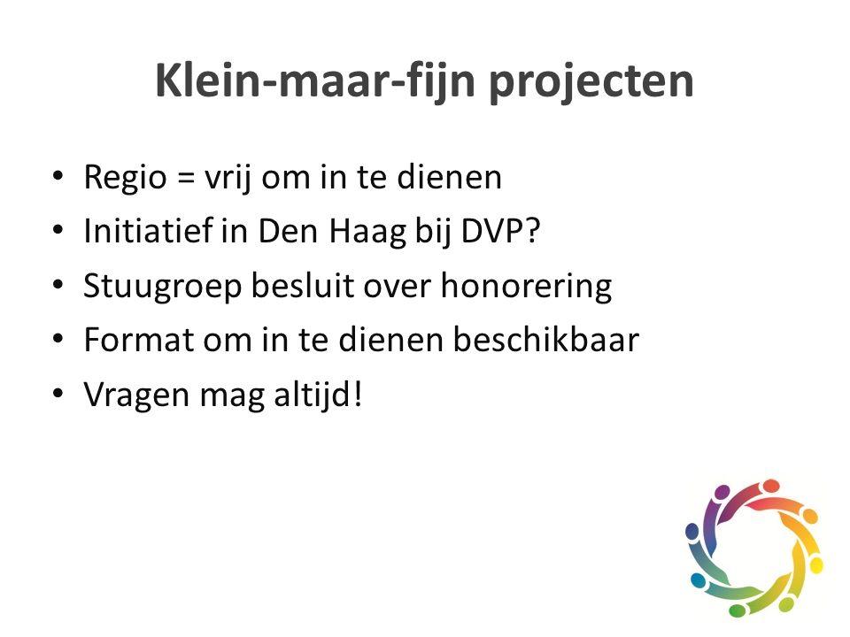 Klein-maar-fijn projecten Regio = vrij om in te dienen Initiatief in Den Haag bij DVP.