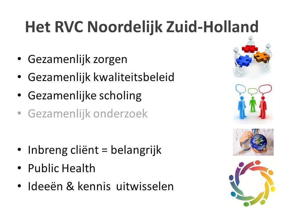 Het RVC Noordelijk Zuid-Holland Gezamenlijk zorgen Gezamenlijk kwaliteitsbeleid Gezamenlijke scholing Gezamenlijk onderzoek Inbreng cliënt = belangrijk Public Health Ideeën & kennis uitwisselen
