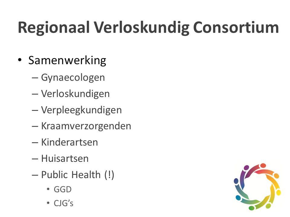 Samenwerking – Gynaecologen – Verloskundigen – Verpleegkundigen – Kraamverzorgenden – Kinderartsen – Huisartsen – Public Health (!) GGD CJG's Regionaal Verloskundig Consortium