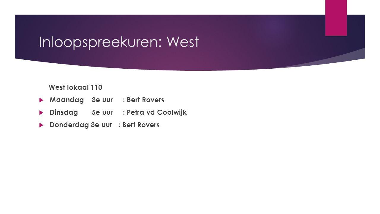 Inloopspreekuren: West West lokaal 110  Maandag 3e uur : Bert Rovers  Dinsdag 5e uur : Petra vd Coolwijk  Donderdag 3e uur : Bert Rovers