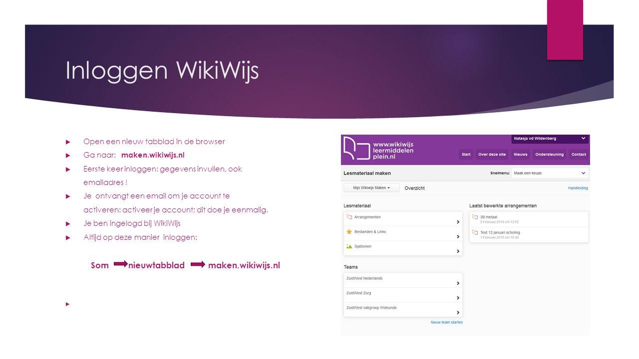 Inloggen WikiWijs  Open een nieuw tabblad in de browser  Ga naar: maken.wikiwijs.nl  Eerste keer inloggen: gegevens invullen, ook emailadres .