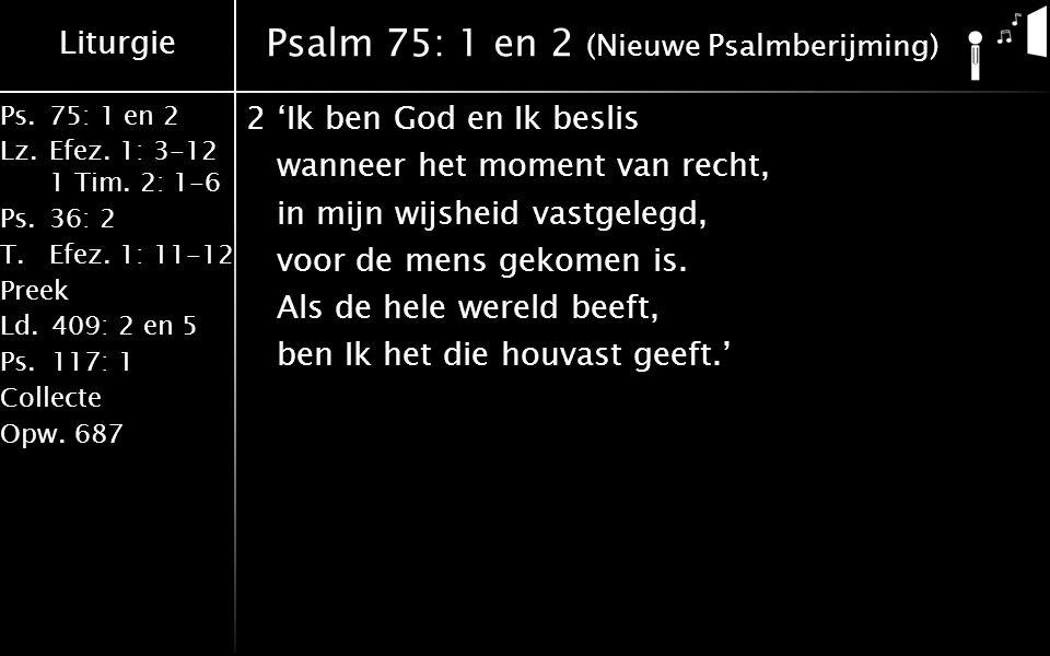 Liturgie Ps.75: 1 en 2 Lz.Efez. 1: 3-12 1 Tim. 2: 1-6 Ps.36: 2 T.Efez. 1: 11-12 Preek Ld.409: 2 en 5 Ps.117: 1 Collecte Opw.687 Psalm 75: 1 en 2 (Nieu