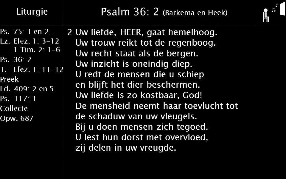 Liturgie Ps.75: 1 en 2 Lz.Efez. 1: 3-12 1 Tim. 2: 1-6 Ps.36: 2 T.Efez. 1: 11-12 Preek Ld.409: 2 en 5 Ps.117: 1 Collecte Opw.687 Psalm 36: 2 (Barkema e