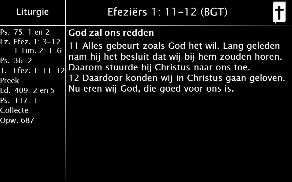 Liturgie Ps.75: 1 en 2 Lz.Efez. 1: 3-12 1 Tim. 2: 1-6 Ps.36: 2 T.Efez. 1: 11-12 Preek Ld.409: 2 en 5 Ps.117: 1 Collecte Opw.687 Efeziërs 1: 11-12 (BGT
