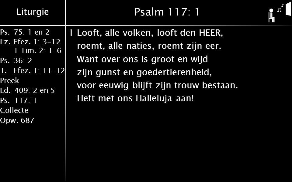 Liturgie Ps.75: 1 en 2 Lz.Efez. 1: 3-12 1 Tim. 2: 1-6 Ps.36: 2 T.Efez. 1: 11-12 Preek Ld.409: 2 en 5 Ps.117: 1 Collecte Opw.687 Psalm 117: 1 1Looft, a