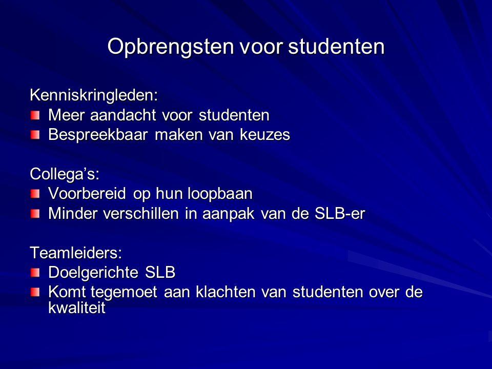 Opbrengsten voor studenten Kenniskringleden: Meer aandacht voor studenten Bespreekbaar maken van keuzes Collega's: Voorbereid op hun loopbaan Minder v