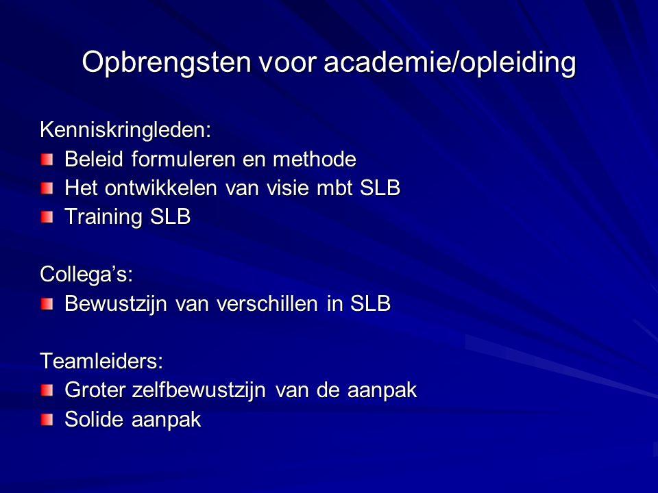 Opbrengsten voor academie/opleiding Kenniskringleden: Beleid formuleren en methode Het ontwikkelen van visie mbt SLB Training SLB Collega's: Bewustzijn van verschillen in SLB Teamleiders: Groter zelfbewustzijn van de aanpak Solide aanpak