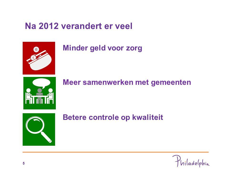 Na 2012 verandert er veel Minder geld voor zorg Meer samenwerken met gemeenten Betere controle op kwaliteit 5
