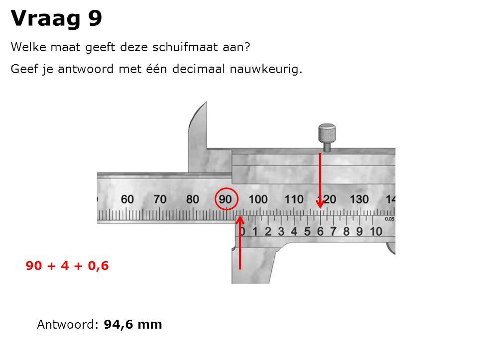 Vraag 9 Welke maat geeft deze schuifmaat aan. Geef je antwoord met één decimaal nauwkeurig.