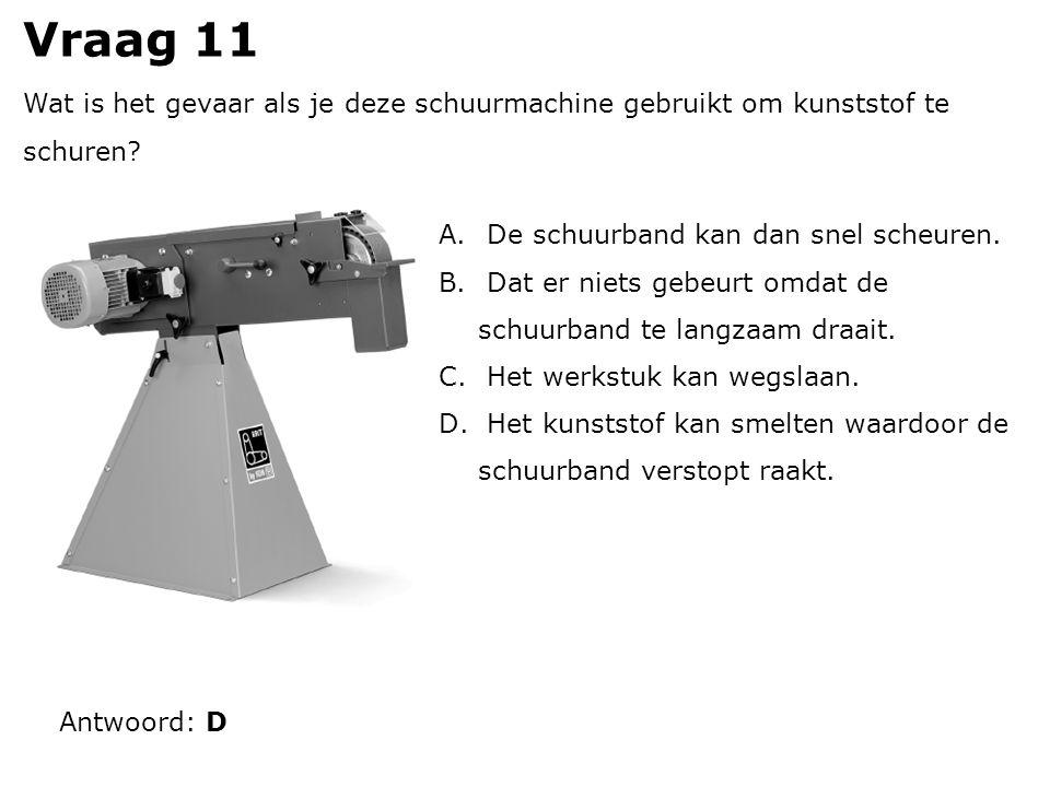 Vraag 11 Wat is het gevaar als je deze schuurmachine gebruikt om kunststof te schuren.