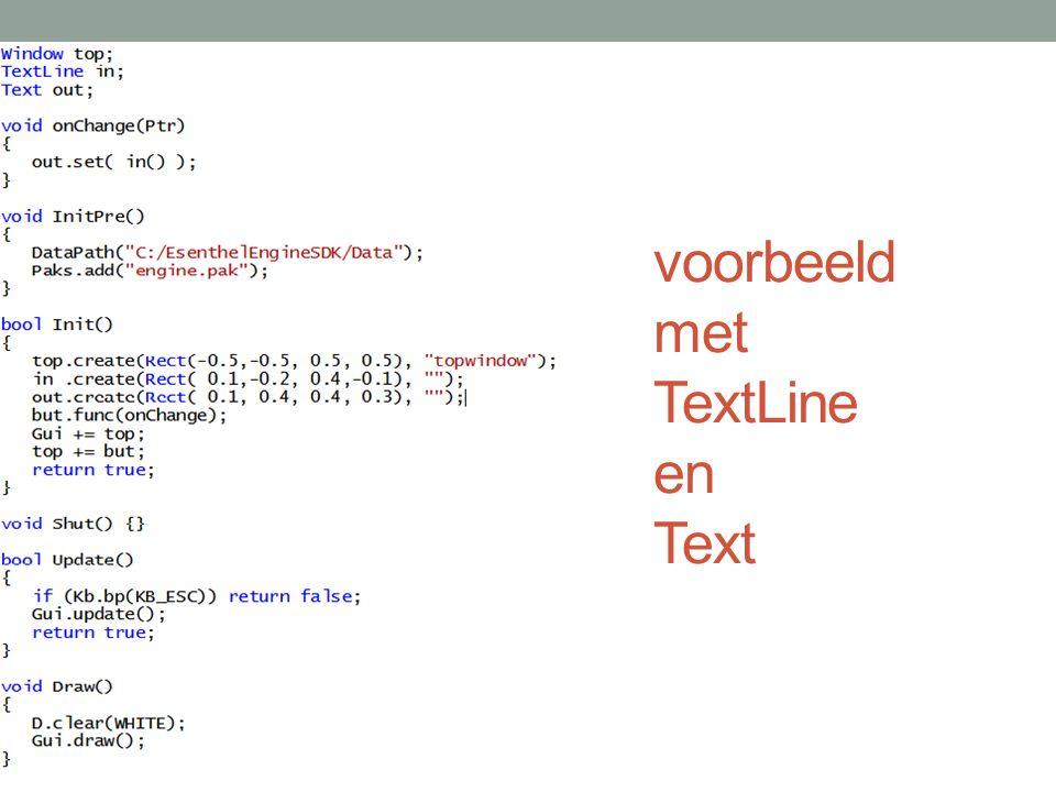 Gui editor ShortcutsProperties Win key: voeg object toeName: om naar te verwijzen Ctrl + Del : verwijder objectin code editor Ctrl + LMB: verplaats object Ctrl + RMB: resize object