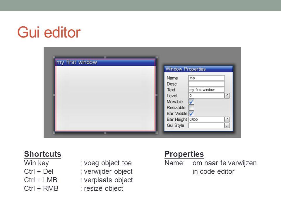 Gui editor Selecteer het 'parent' element voor je iets toevoegt.