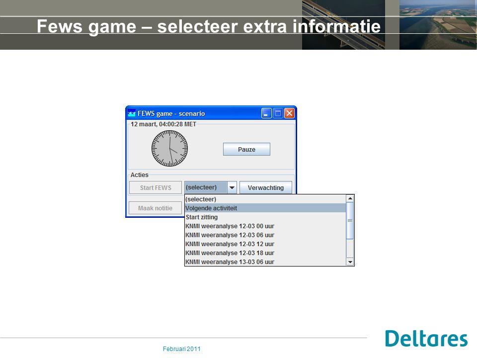 Februari 2011 Fews game – selecteer extra informatie
