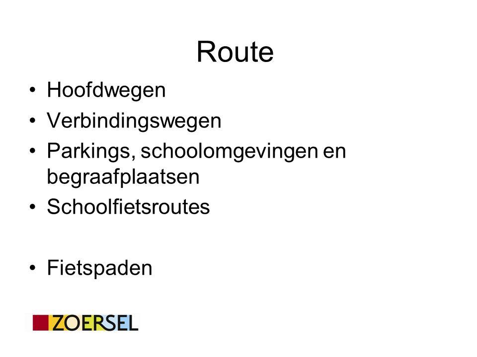 Hoofdwegen Verbindingswegen Parkings, schoolomgevingen en begraafplaatsen Schoolfietsroutes Fietspaden Route