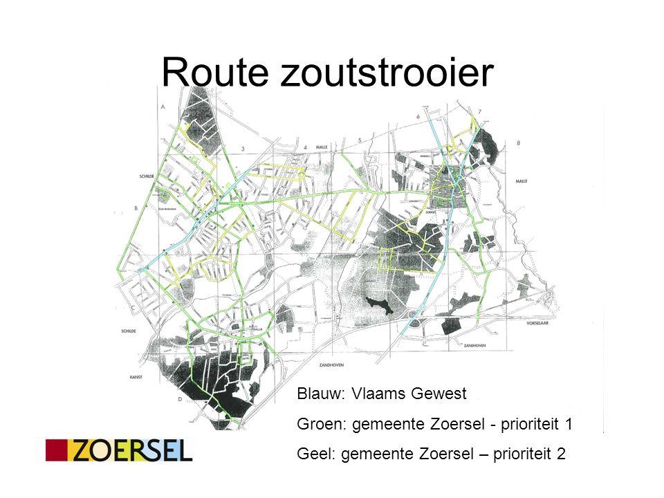 Route zoutstrooier Blauw: Vlaams Gewest Groen: gemeente Zoersel - prioriteit 1 Geel: gemeente Zoersel – prioriteit 2