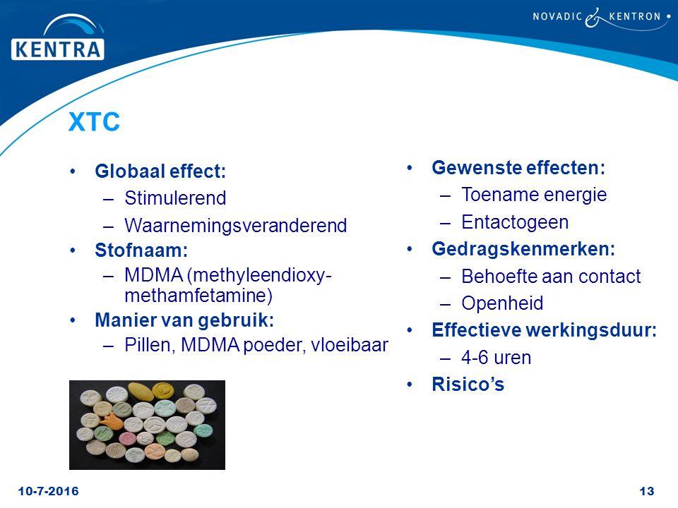 10-7-201613 XTC Globaal effect: –Stimulerend –Waarnemingsveranderend Stofnaam: –MDMA (methyleendioxy- methamfetamine) Manier van gebruik: –Pillen, MDM