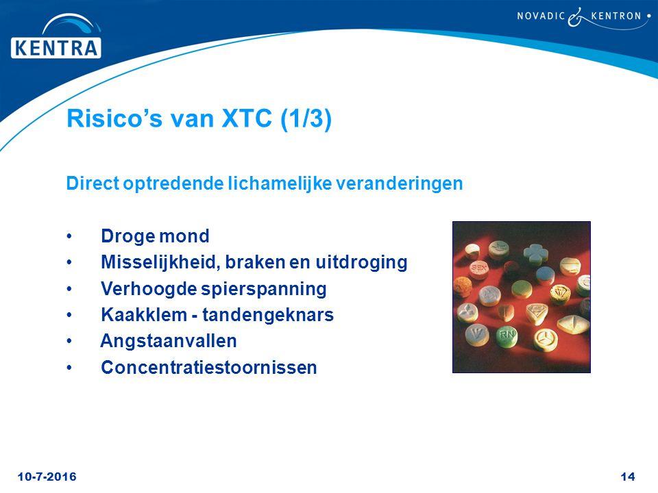 10-7-201614 Risico's van XTC (1/3) Direct optredende lichamelijke veranderingen Droge mond Misselijkheid, braken en uitdroging Verhoogde spierspanning