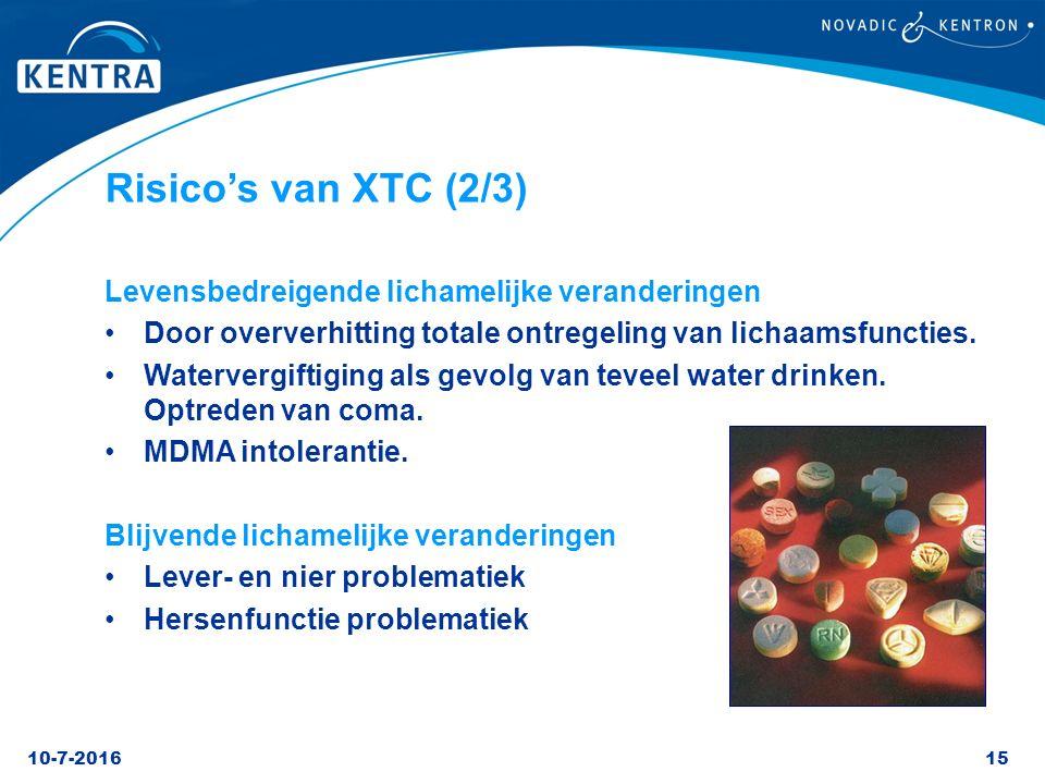 10-7-201615 Risico's van XTC (2/3) Levensbedreigende lichamelijke veranderingen Door oververhitting totale ontregeling van lichaamsfuncties. Waterverg