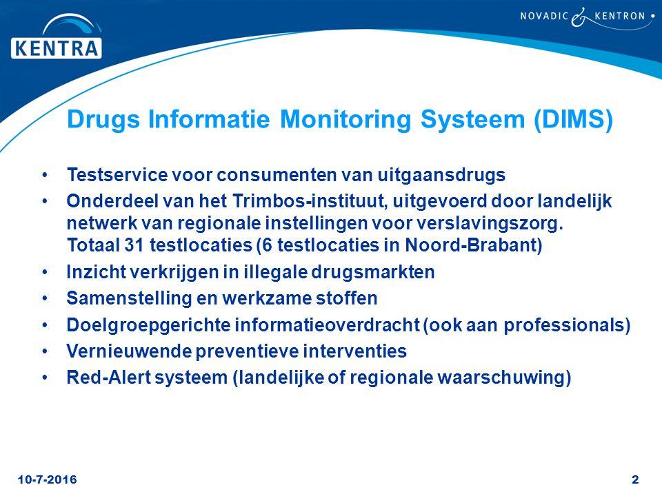 10-7-20162 Drugs Informatie Monitoring Systeem (DIMS) Testservice voor consumenten van uitgaansdrugs Onderdeel van het Trimbos-instituut, uitgevoerd d